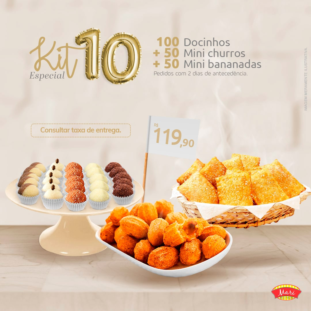 100 Docinhos + 50 Mini churros + 50 Mini Bananadas.
