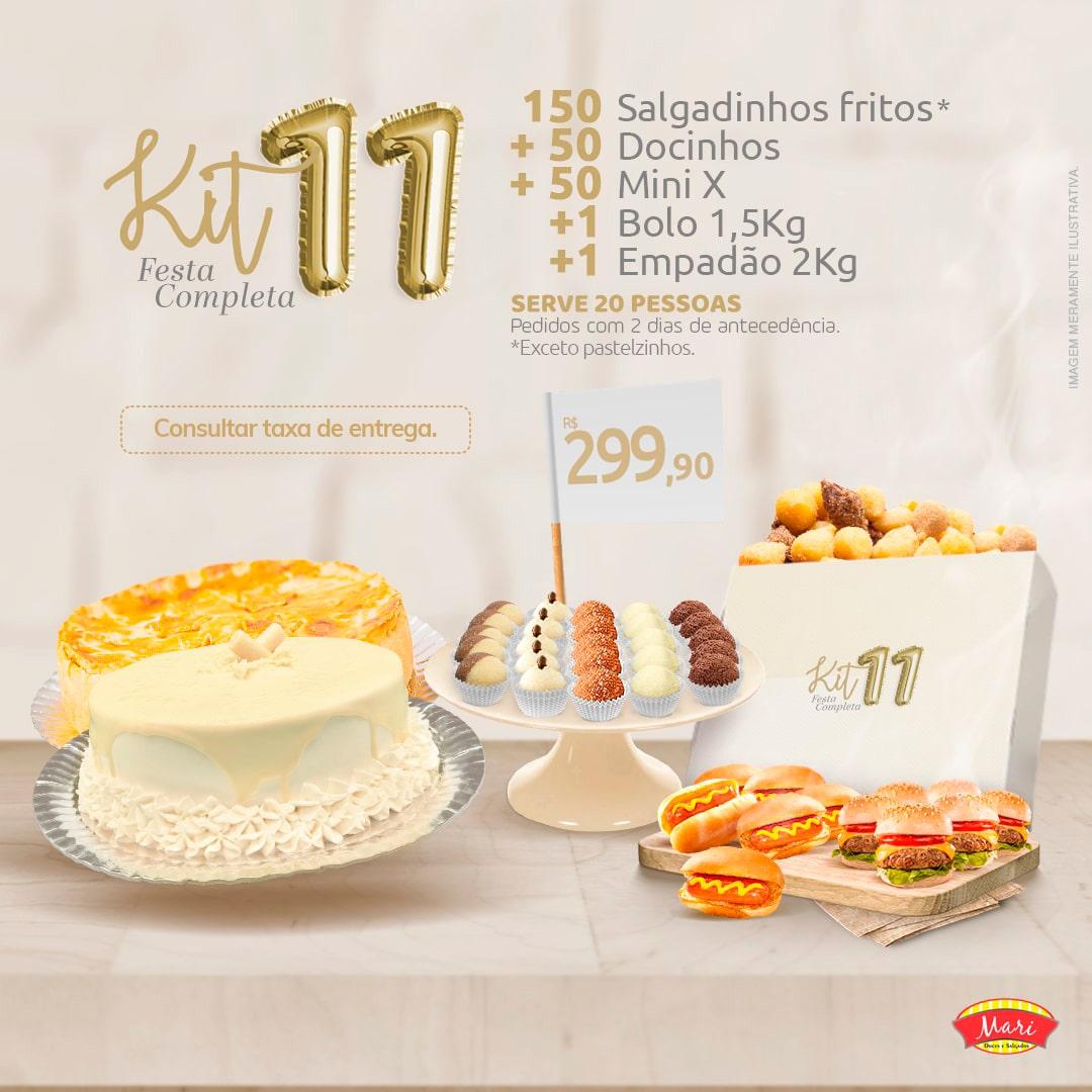 150 Salgadinhos fritos + 50 Docinhos + 50 Mini X + 1 Bolo 1,5kg + 1 Empadão 2kg.