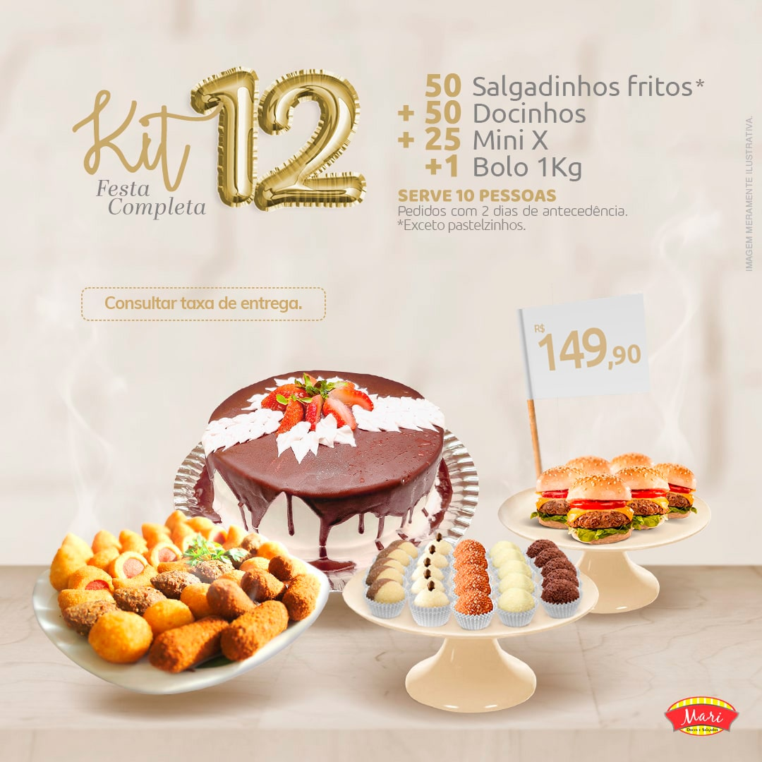 50 Salgadinhos fritos + 50 Docinhos + 25 Mini X + 1 Bolo 1kg.