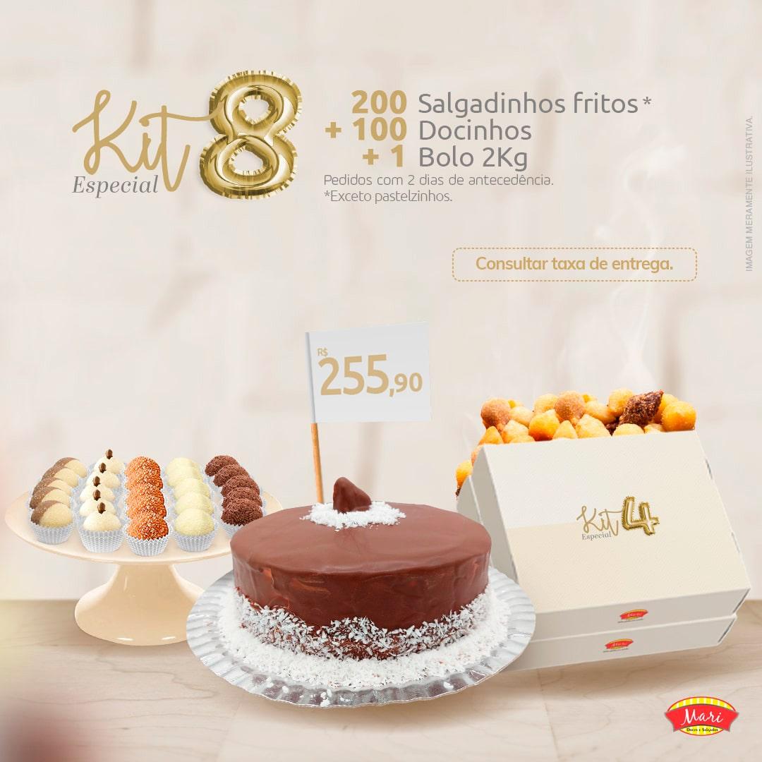 200 Salgadinhos fritos + 100 Docinhos + 1 Bolo 2Kg.