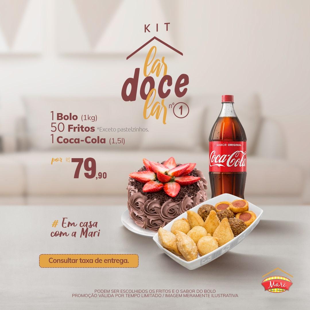 1 Bolo (1kg) + 50 Salgadinhos fritos* + 1 Coca-Cola 1,5l.
