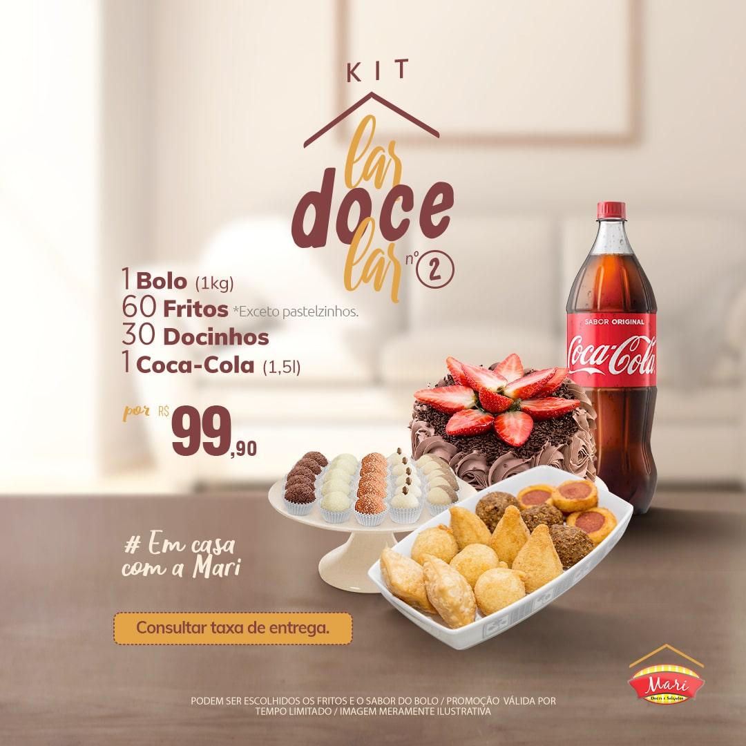 1 Bolo + 60 Salgadinhos fritos + 30 Docinhos + 1 Coca-Cola 1,5l